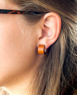 Boucles d'oreille cuir uni