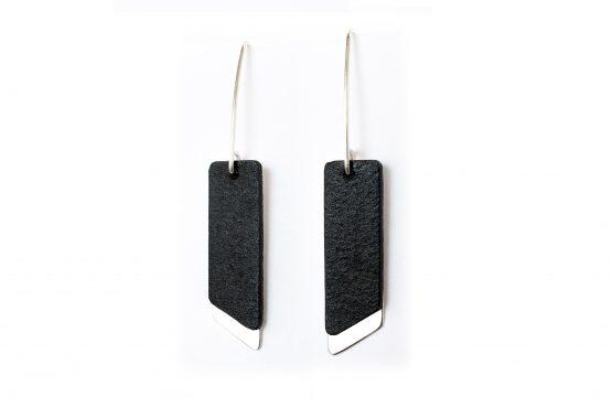 Anne Sancey, boucles d'oreilles cuir noir 10mm