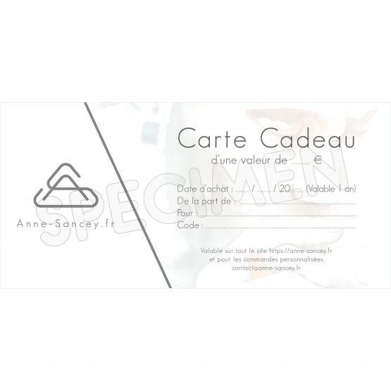 Carte Cadeau, specimen