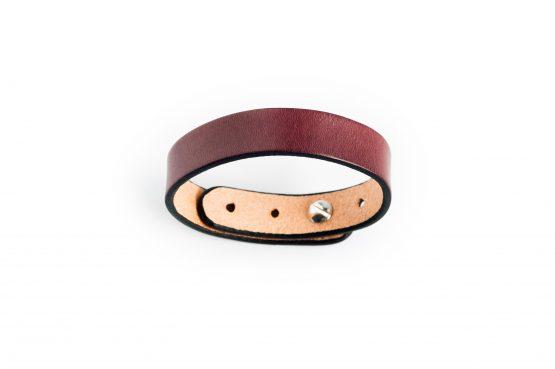 Anne Sancey, bracelet cuir acajou 15mm