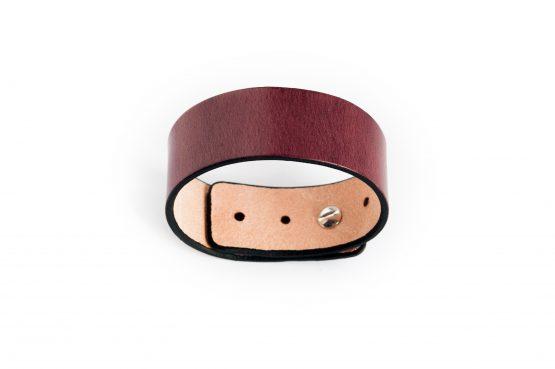 Anne Sancey, bracelet cuir acajou 25mm