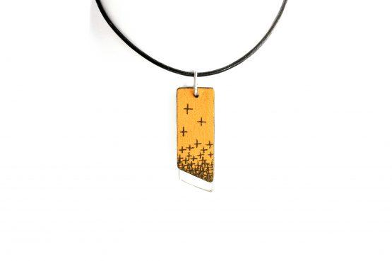Anne Sancey - collier argent et cuir tatoué croix 10mm