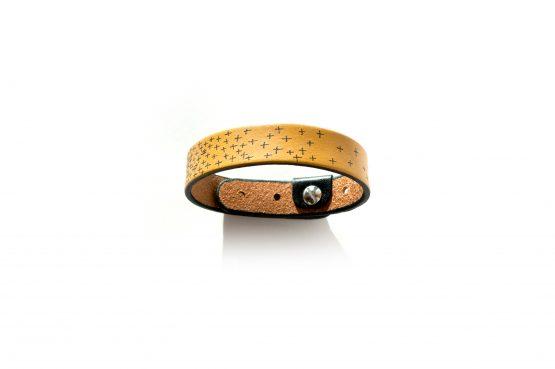 Anne Sancey - bracelet cuir tatoué croix 15mm